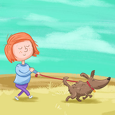 Girl & Dog childrens Illustration